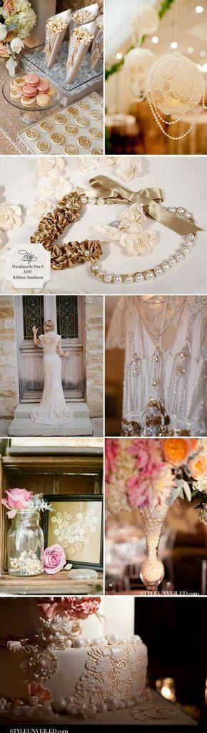 Ideas con perlas para llevar y decorar vuestra boda: collares interminables de perlas, tartas rodeadas con perlas, zapatos con broches preciosos de perlas..