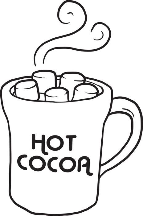 Cup of Hot Cocoa Coloring Page