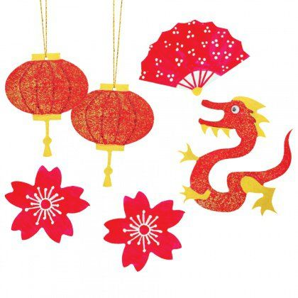 Wooden Asian Shapes - This quick and easy craft activity celebrates Chinese New Year and Asian culture.