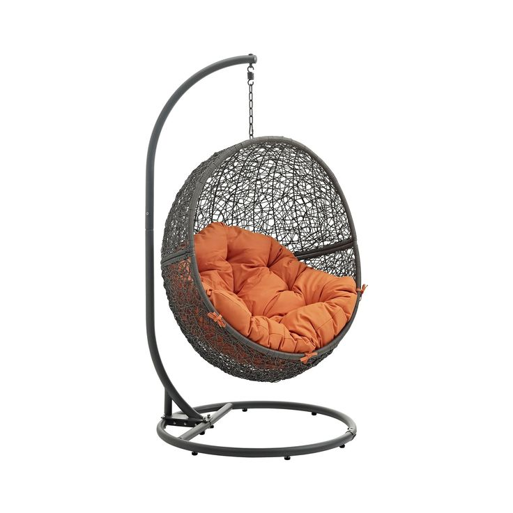 Hide Outdoor Patio Swing Chair in Gray Orange - Modway