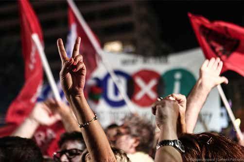 6-7-2015 Κυριακή 5 Ιουλίου, ο ελληνικός λαός λέει ένα ΟΧΙ που ταράζει τα ήδη φουρτουνιασμένα νερά της Ε.Ε. Πολίτες βγήκαν στους δρόμους να πανηγυρίσουν ένα ΟΧΙ απέναντι στα σκληρά μέτρα και τη λιτότητα.