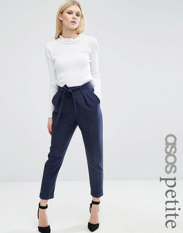 ASOS+PETITE+Woven+Peg+Trousers+with+Obi+Tie