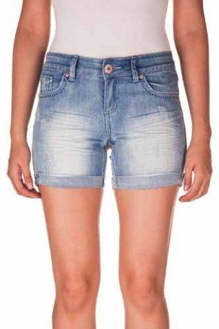 Light Wash Denim Shorts W/ Rolled Cuffs