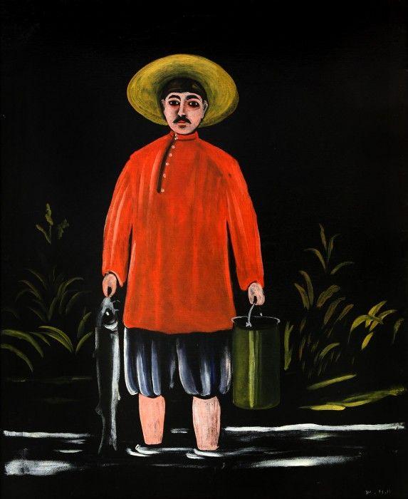 Niko Pirosmani - Fisherman in a Red Shirt, 1908. WikiArt.org