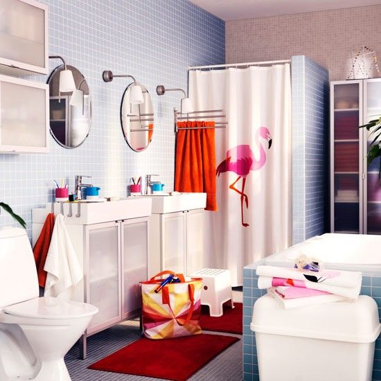 17 best images about palm springs flamingo bathroom on for Spring bathroom decor