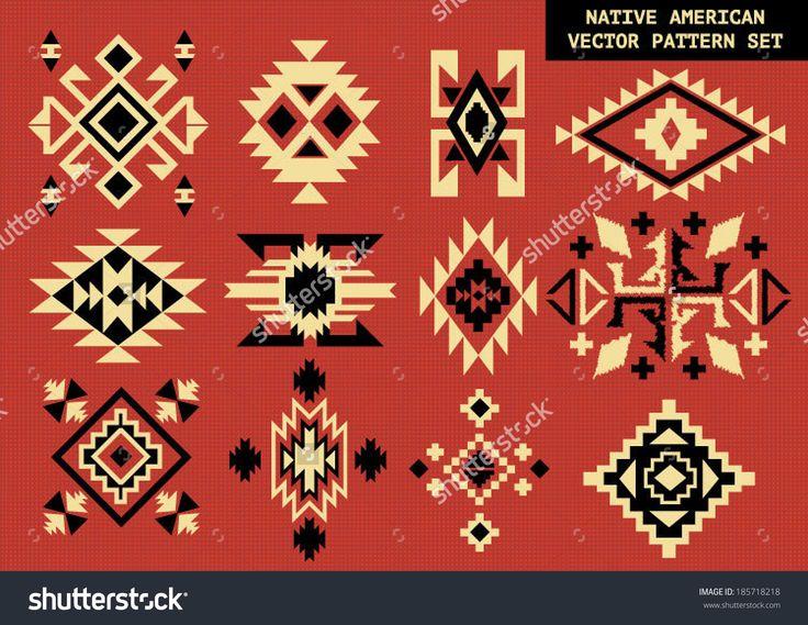 Navajo - Native American vector pattern on red board - stock vector