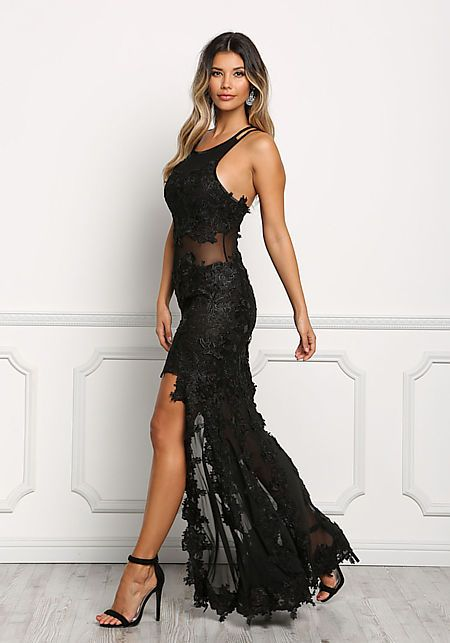 Black Floral Applique Mesh Hi-Lo Gown