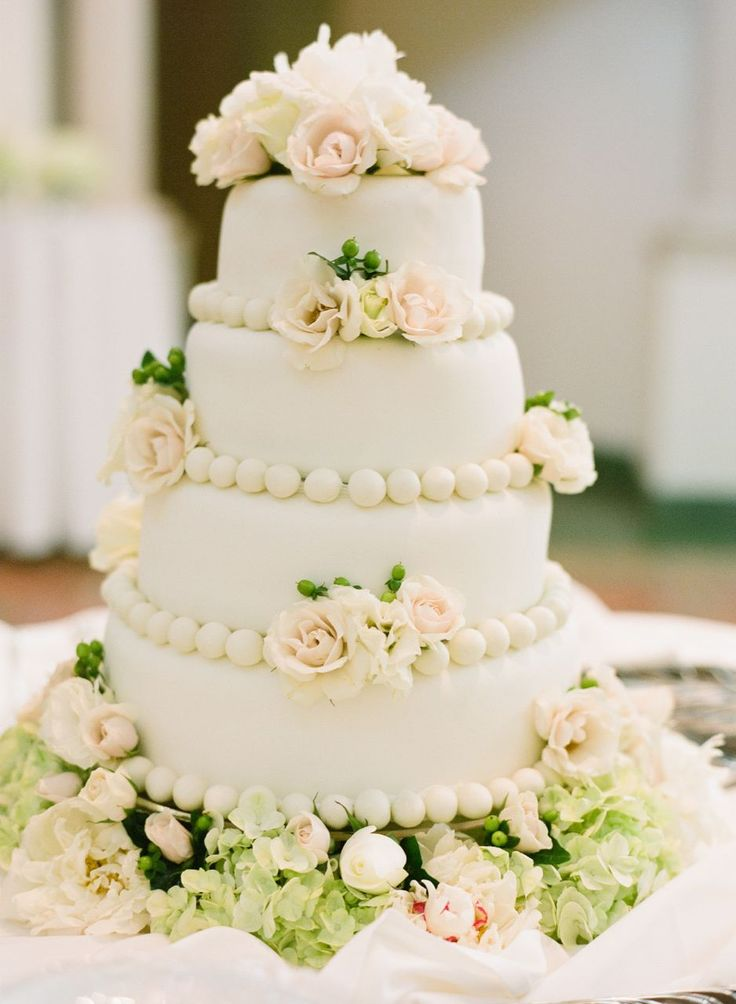 Classic Fondant Cake Embellished With Blush Rosettes Pastel Wedding