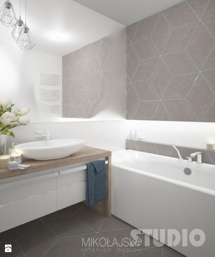 łazienka-jasna-biała-beżowa-biel-beż-drewno-w-łazience-płytki-romby - zdjęcie od MIKOŁAJSKAstudio - Łazienka - Styl Skandynawski - MIKOŁAJSKAstudio