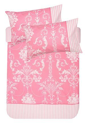"""This filigree and striped dot duvet cover set is made from a 132 thread count polycotton. With a delicate feminine look, this duvet cover set will suit a traditional or vintage style. Single and three quarter include 1 standard pillowcase, double, queen, king and super king include 2 standard pillowcases.<div class=""""pdpDescContent""""><BR /><BR /><b class=""""pdpDesc"""">Fabric Content:</b><BR />45% Cotton 55% Polyester<BR /><BR /><b class=""""pdpDesc"""">Wash Care:</b><BR>Lukewarm machine wash</div>"""