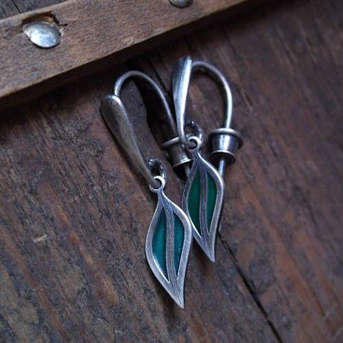 IN GREEN, sterling silver, leaf, green enamel, green earrings, leaf earrings by pieceofmysoulArt on Etsy