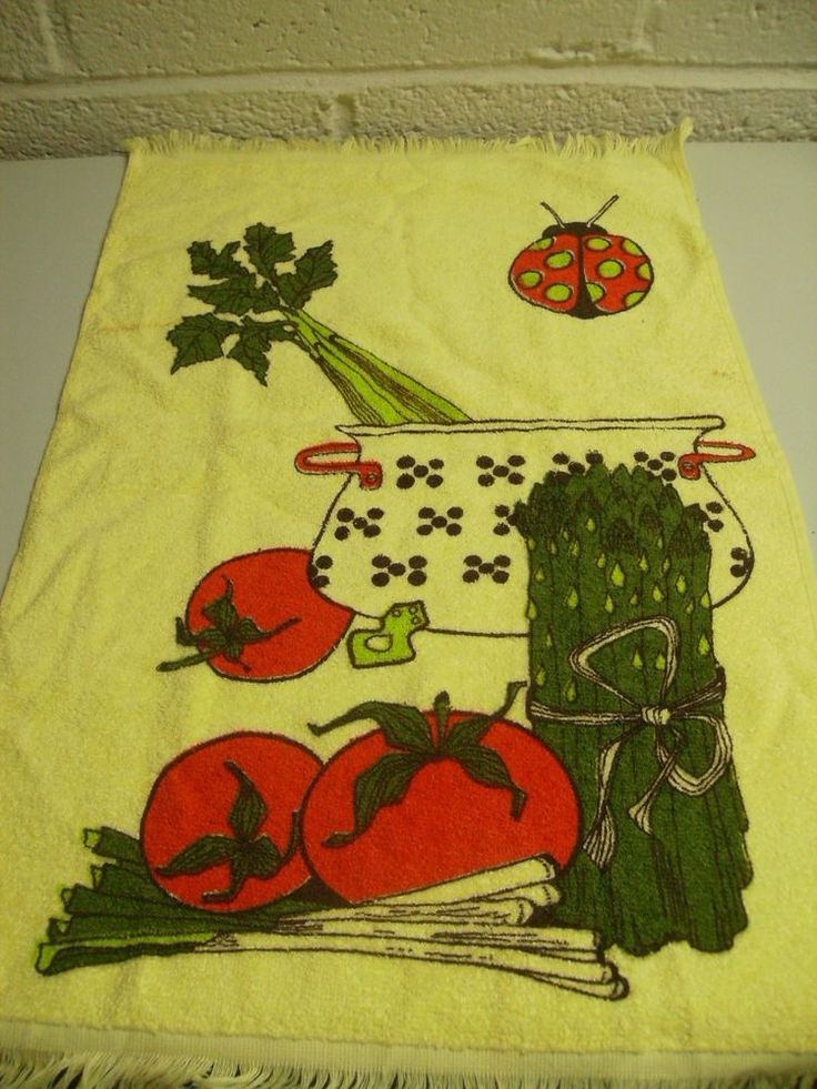 Vintage 70s Kitchen Yellow Hand Towel with Fringe Lady Bug Asparagus Celery