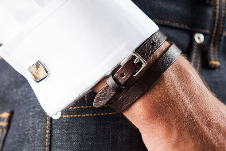 Add some edge to your look with our Double Wrap Bracelet.  -Genuine Calf Skin Leather -Stainless Steel Buckle -Made in the USA  #Bracelet #MensAccessories