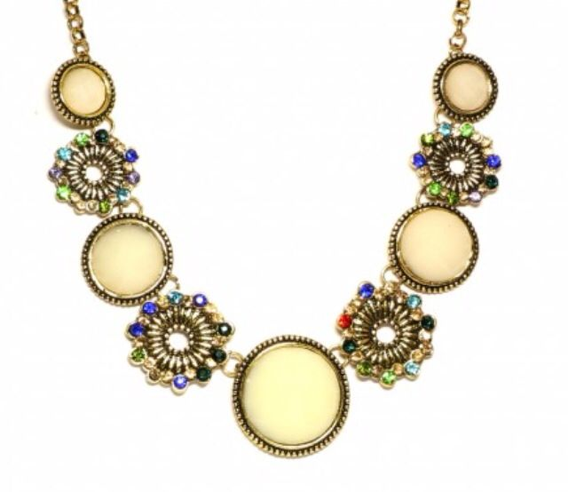 Floral necklace motif with coloured cubic zirconia
