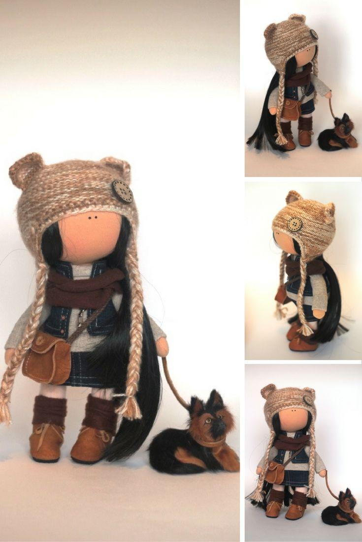 Fabric doll Tilda doll Summer doll handmade brown color Soft doll Cloth doll…