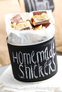 Nut Can painted with chalkboard paint & used to deliver homemade treats