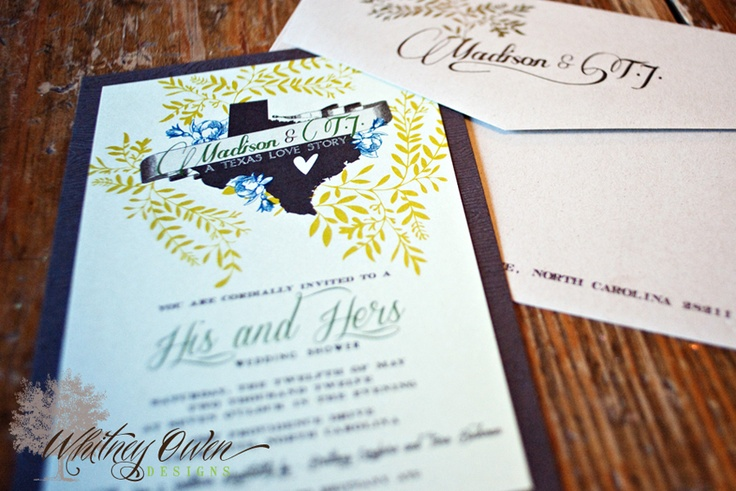 #WhitneyOwenDesigns, #BridalShowerInvitations, #Texas, #Heart, #Texas, #ThemedInvitations, #HisAndHers, #WeddingShowerInvitations, #Envelopments