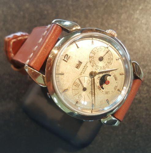 Universal-Geneve-Chronometer-Chronograph-Herren-Uhr-Automatik-Mond-Vollkalender