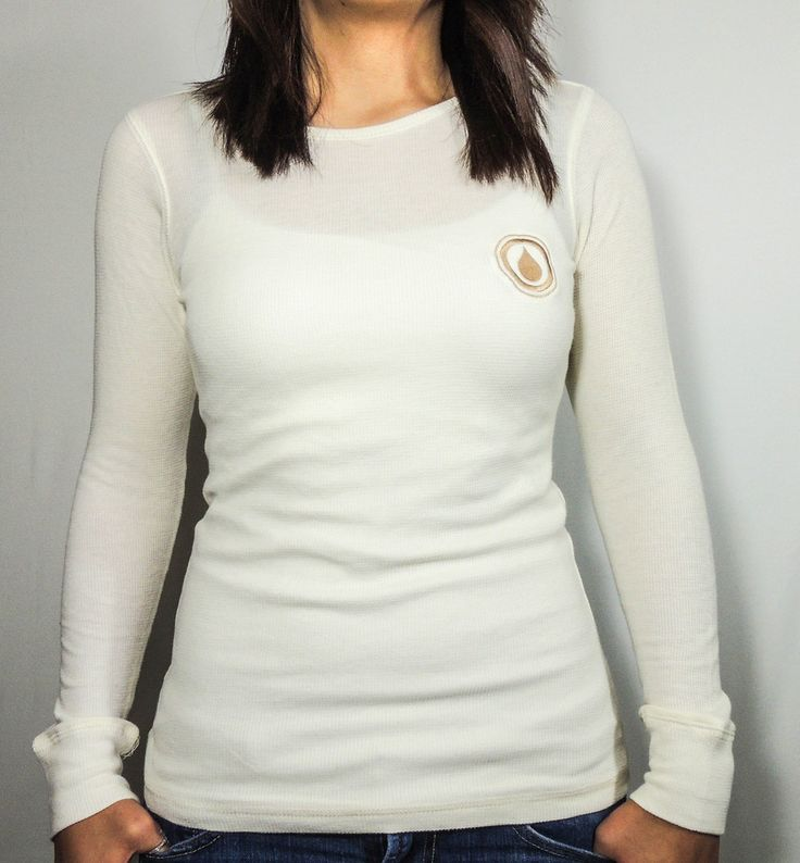 100% COTTON OFF WHITE THERMAL WITH TAN LOGO