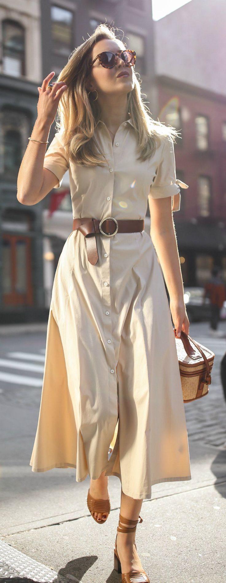 Click for outfit details! // Khaki short sleeve button down midi dress, brown waist belt, cat eye sunglasses, tan heeled sandals, wicker straw box bag…