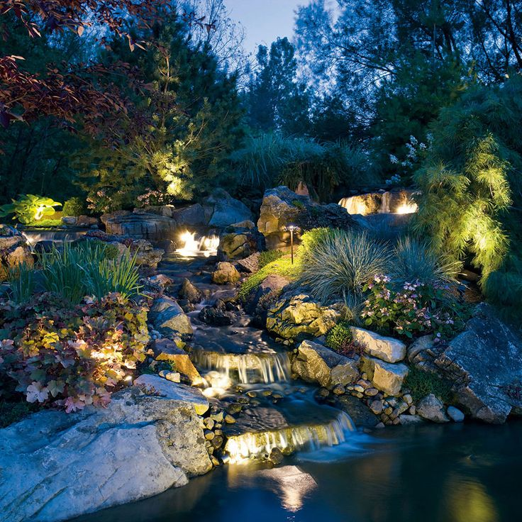 Kichler Landscape Waterfall Series. Turn your outdoors into a work of art.  Call the Lighting Specialists  Toll Free: 800-897-5667 http://lightingspecialists.com/
