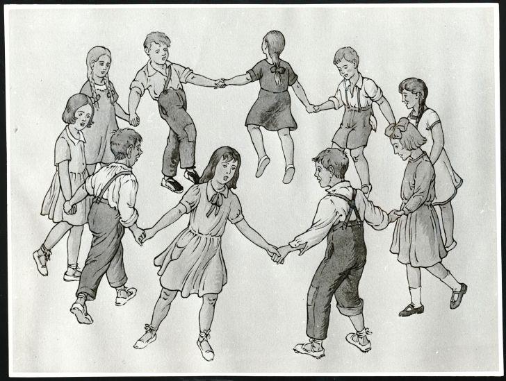 Joc de rotllana d'endevinalla. Il·lustració de J. Ribot. Fons Joan Amades de la DGCPAAC. #jiocs #tradicionals