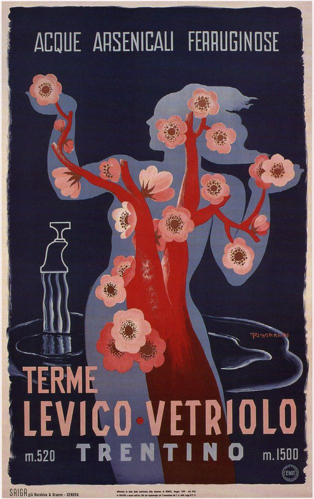 TERME LEVICO VETRIOLO Vintage Italian Travel Poster Giclée on CANVAS 24x36 in. #Vintage