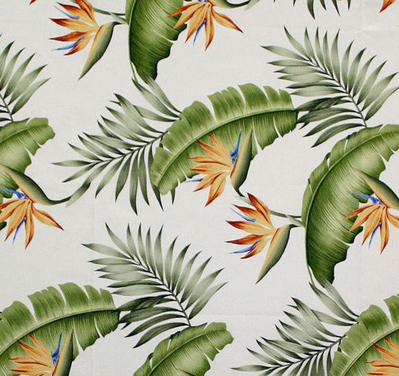 Lani Hawaiian floral design in color natural on base cloth of 100% cotton crepe. Repeat: H-26.75; V-23.75
