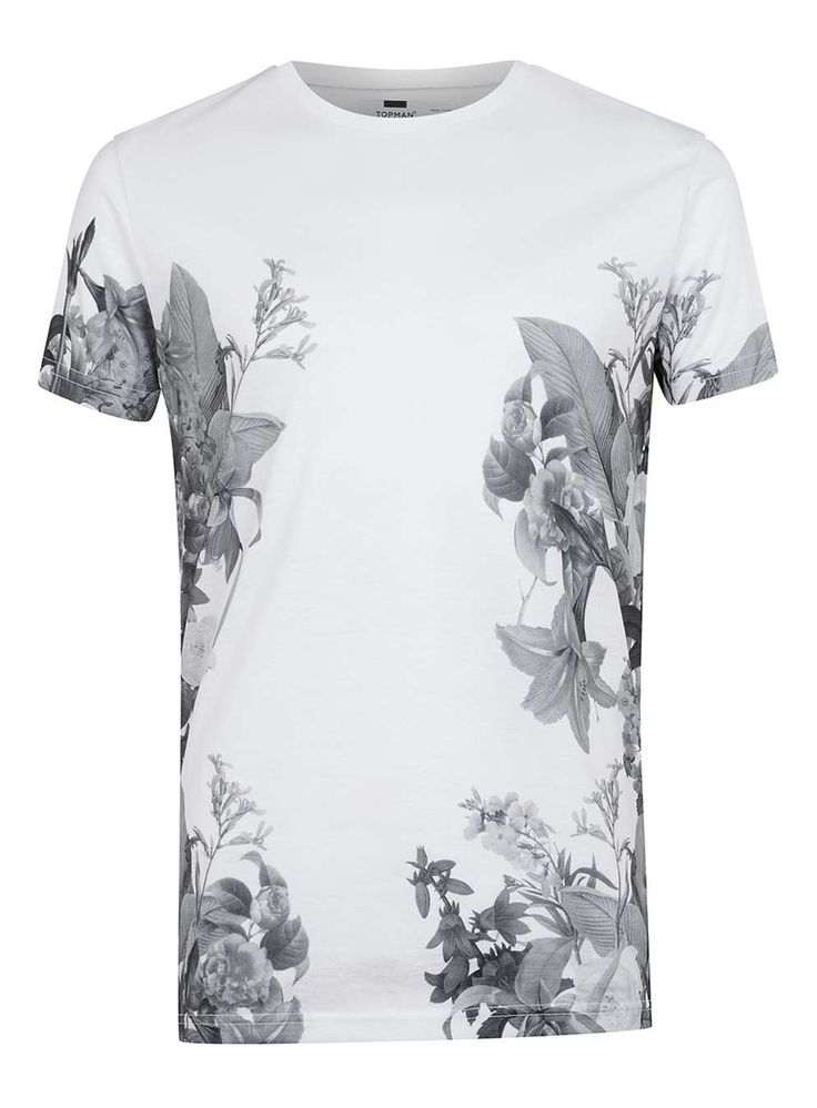 White Lily Floral Print T-Shirt - Men's T-Shirts & Vests - Clothing - TOPMAN