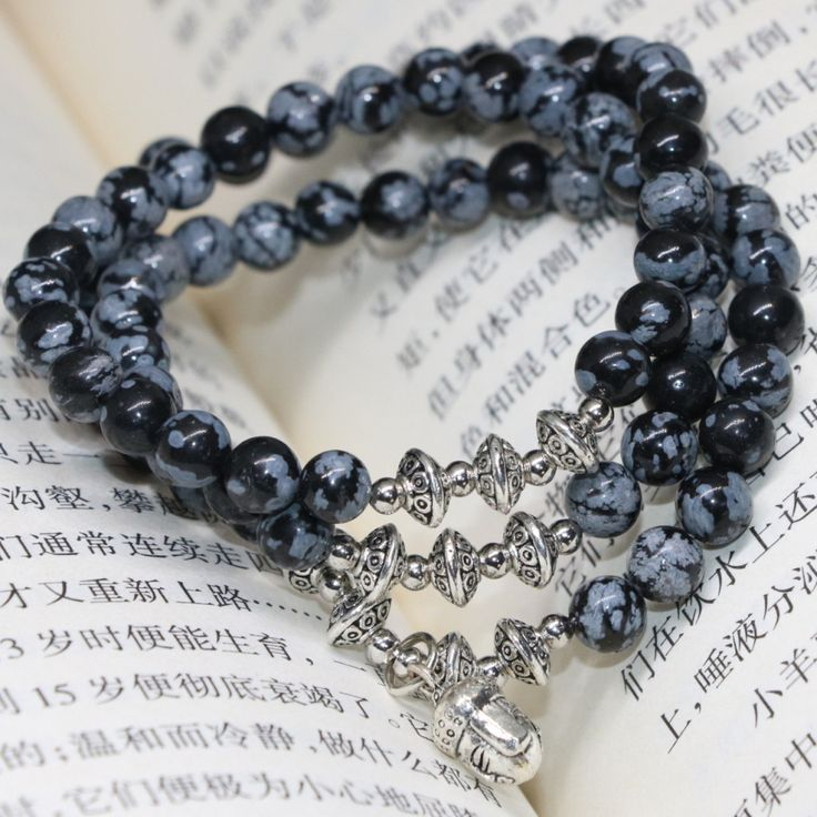New fashion free shipping original design natural snowflake obsidian 6mm round beads multilayer bracelets jewelry making B2243