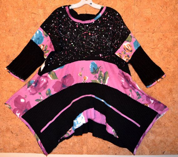Recycled sweater  tunic Hand painted