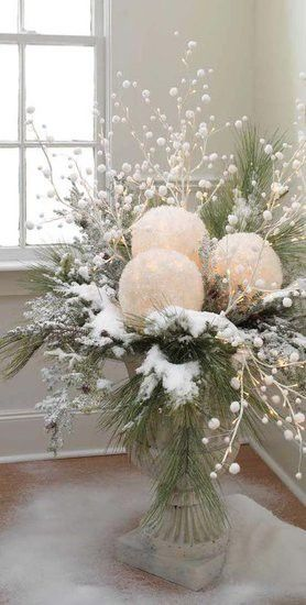 Beautiful!!!  Take white balloons and white tissue paper. blow up balloons, dip tissue in glue, cover balloons and let dry. cut out a space for battery tea light and use in center pieces...love it!!!