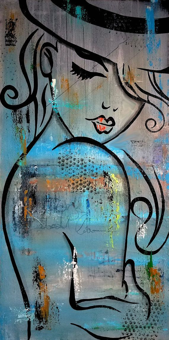 Abstract nude painting original modern pop art contemporary canvas by fidostudio deeper love easy paintingsmodern