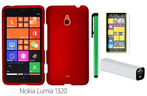 """Buy Nokia Lumia 1320 (6"""" Windows Phone 8 device; US Carrier : Cricket) Phone Case - Premium Pretty Design Protector Hard Snap-On Cover Case + I of 1600mAh (5V) Portable Lightweight External USB Emergency Mobile Power Bank + Screen Protector Film + 1 of N for 22.71 USD 