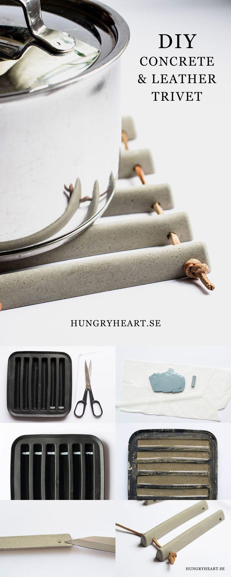 DIY Grytunderlägg av betong och läder | Hungry Heart