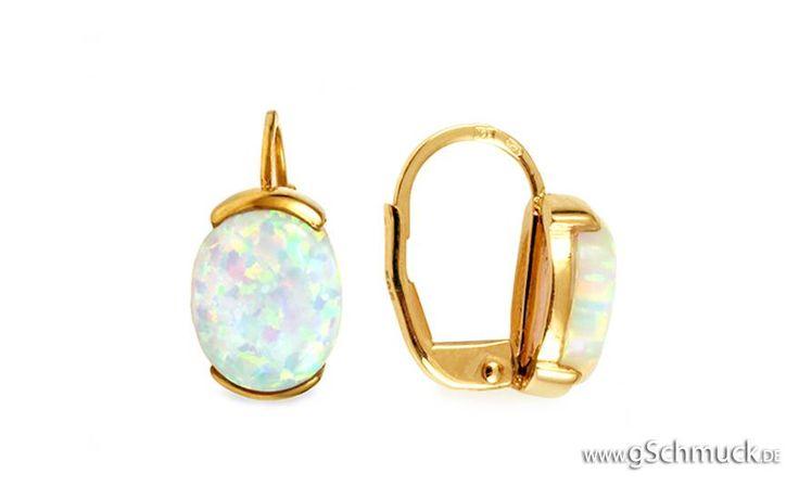 Goldohrringe mit weißem Opal Opaline