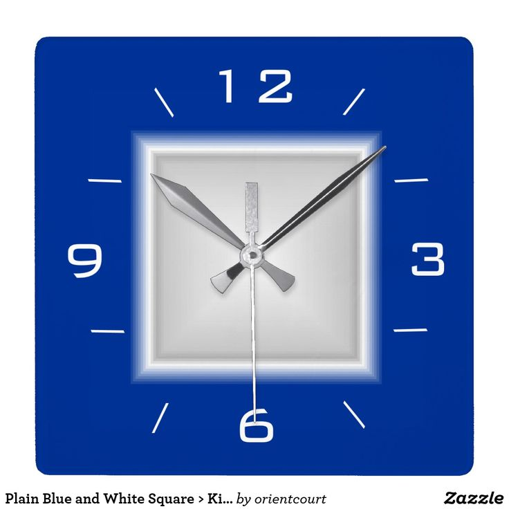 Plain Blue and White Square > Kitchen Clock