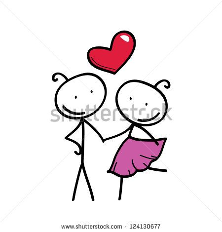 stick figure love couple with heart