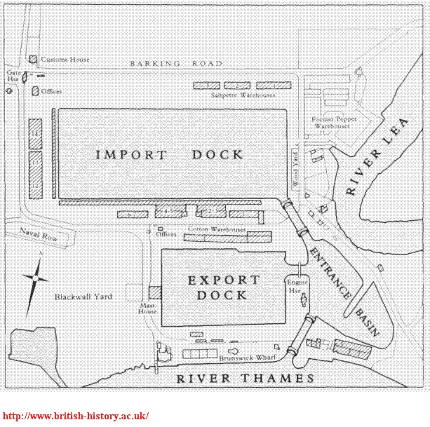 East India Docks | London Diary (Bradshaws Hand Book)