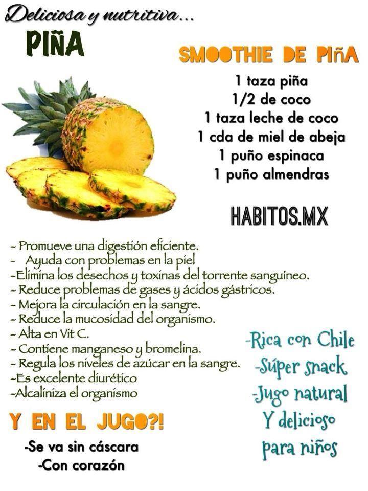 Smoothie NUTRITIVO: piña, coco, leche de coco, miel de abeja, espinacas y almendras