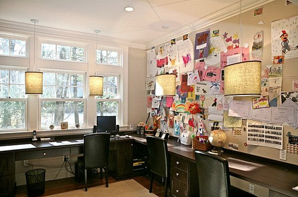 Organizing Your Home Office  ---  Large bulletin board in a home office