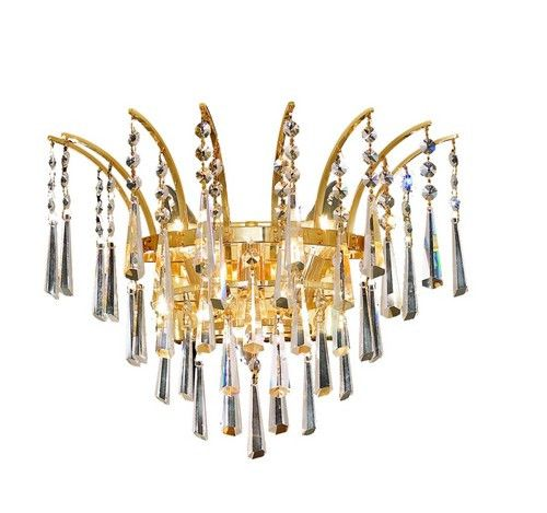 8032 Victoria Collection Wall Sconce W16in H13in E8in Lt:3 Gold Finish (Elegant Cut. 8032 Victoria Collection Wall Sconce W16in H13in E8in Lt:3 Gold Finish (Elegant Cut Crystals)  Watts: Lumens: Lamp Type: Shape: Style:Transitional Light Bulbs:3 Bulb Type:E12 Bulb Wattage:40 Max Wattage:120 Voltage:110V-125V Finish:Gold Crystal Trim:Elegant Cut Crystal Color:Crystal (Clear) Hanging Weight:10