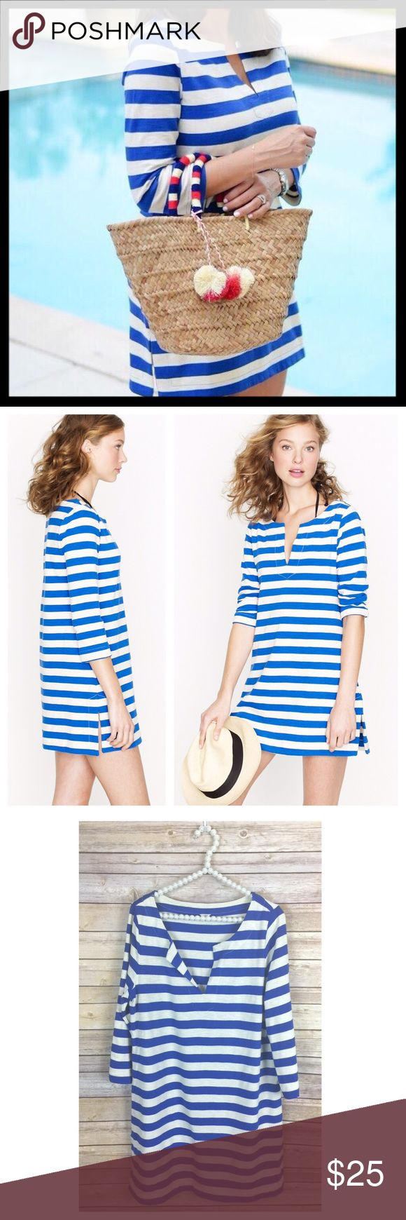 """j. crew // stripe knit tunic dress • blue & white This cute cotton tunic dress has blue and white stripes. Henley neckline. Slightly heavyweight fabric. Great in warner weather or as a beach cover up (but honestly I love these tunics with leggings!). In great preowned condition. 33"""" long from top of shoulder. J. Crew Dresses Mini"""