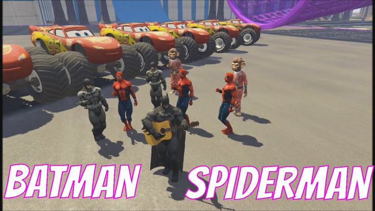 Monster McQueen Batman Spiderman and Monkey Man! KIDS Cartoon Fun Nurser...