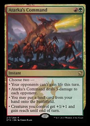 Atarka's Command Magic the Gathering mtg Dragon of Tarkir red green rare instant card