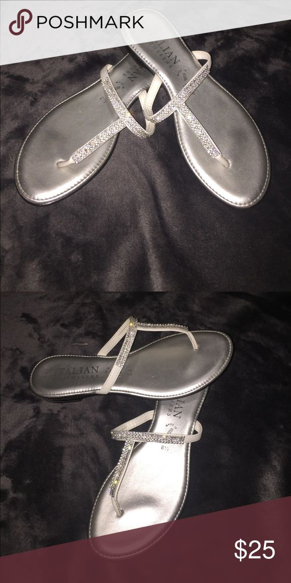 Italian show makers sandals!! These grey sandals are perfect for a wedding homecoming or prom!! Shoes Sandals