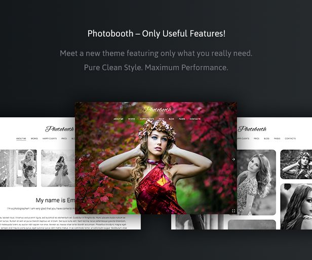 Download Photobooth  Clean Photo and Portfolio WordPress Theme (Photography)  Latest Version 1.0  April 6 2017 WordPress 4.7.3 Ready  Theme Features:  Extremely Customizable  Visual Composer Drag-and-Drop Page Builder ($34 value)  Exclusive Galleries  24/7 First-Class Support with 5 Stars  Seo-Ready & Mobile Friendly (compatible with SEO Plugins like Yoast)  Multilingual & Translation Ready  Compatible with Latest WordPress Version  WordPress Multisite Ready  Responsive. Fluid. Retina Ready…
