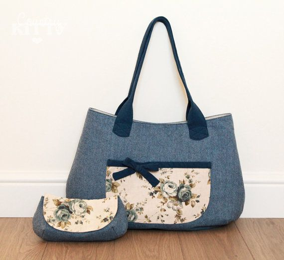 Large navy blue wool tweed bag with front by CountrykittyHandmade, £60.00
