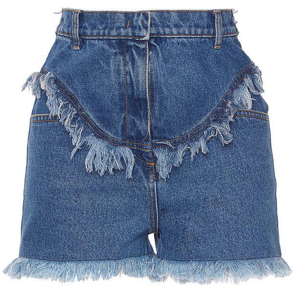 Philosophy di Lorenzo Serafini     Denim Shorts (1.340 BRL) ❤ liked on Polyvore featuring shorts, medium wash, high-waisted denim shorts, high waisted shorts, high-waisted jean shorts, short jean shorts and highwaist shorts
