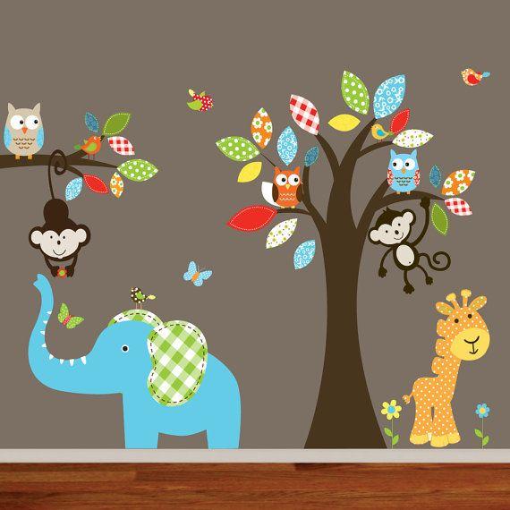 Etsy jungle theme nursery decals - tree, monkey, tiger, lion, elephant. Pattern tree leaves